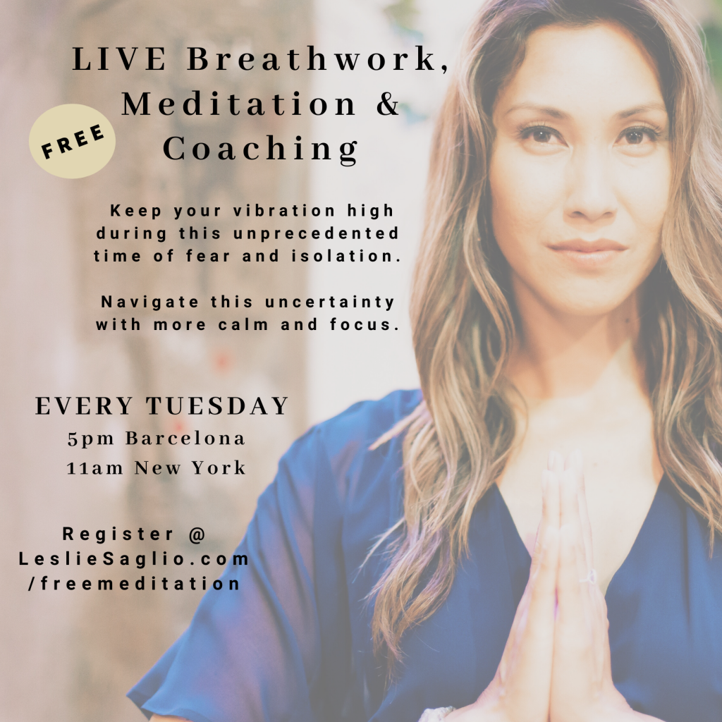 Leslie Saglio free virtual meditation breathwork coaching